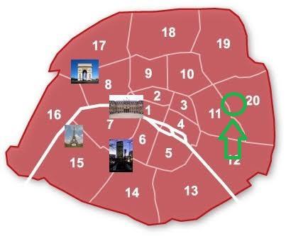 Plan de Paris pour la visite du cimetière du Père Lachaise