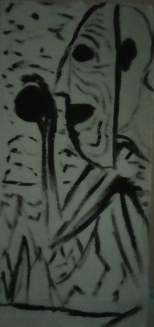 L'oeuvre d'un résident, étudiant aux beaux arts de Cergy
